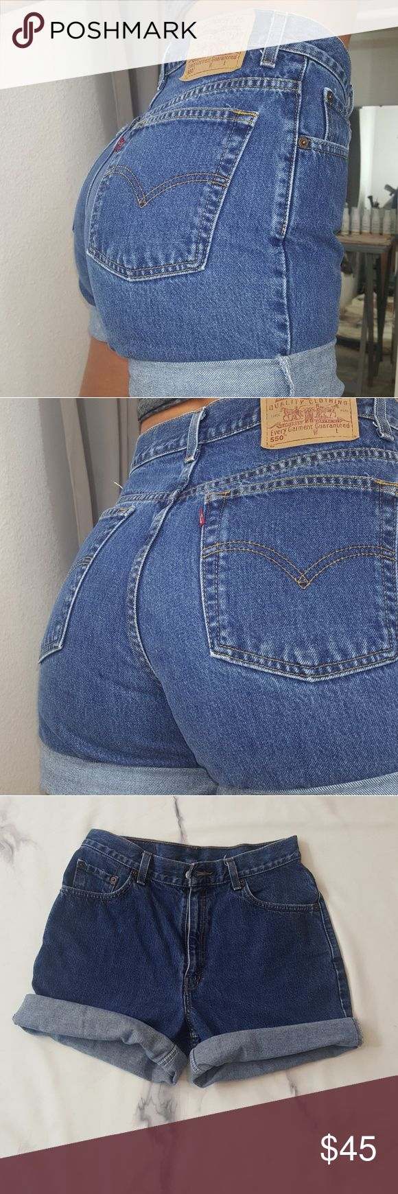 PERFECT VINTAGE LEVI 550 label MOM SHORTS Medium stone wash vintage Levi's mom shorts high rise. Can be adjusted to the length you like them rolled vintage size 9 10 so modern day size 7 or so photos are of me modeling for a reference I have a 25 inch waist and about a 32 inch bum and these fit a little bigger I believe that they would fit a size 28 to a small size 30 best. However if you have wider hips and a small bum and you prefer to pull them up higher they may be a very good fit for a…