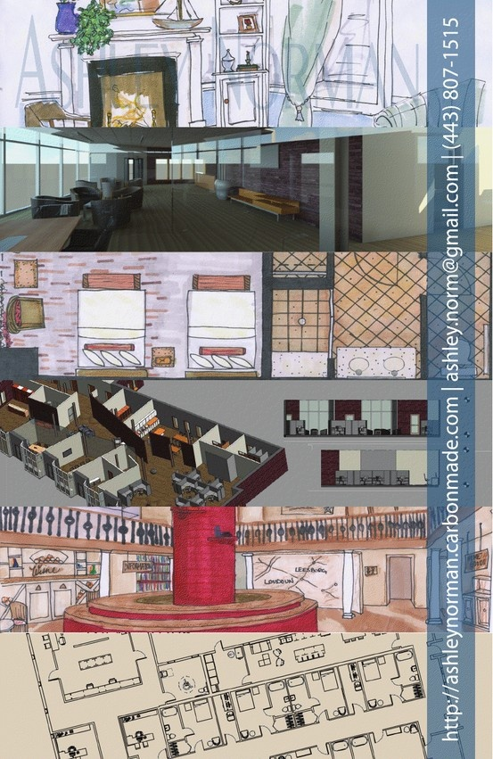 Interior Design Student Portfolio Teaser Or Sample On Post Cards