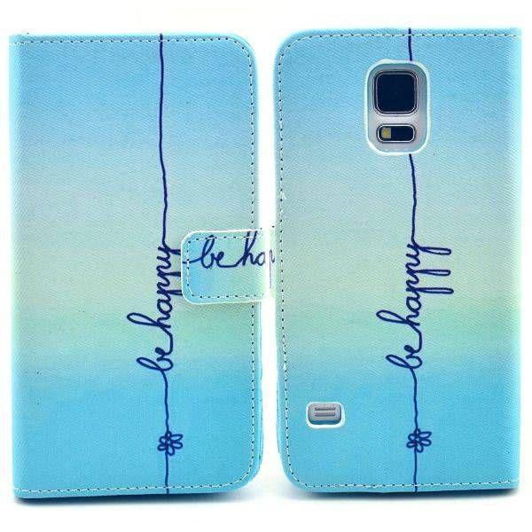 Be Happy blauw booktype hoesje voor Samsung Galaxy S5