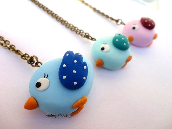 necklaces bird in polymer clay country kawaii door AudreyPinkStyle