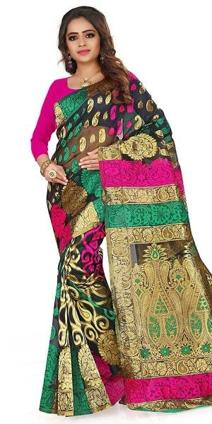 Vibrant Black And Multi-Color Silk Saree With Blouse.