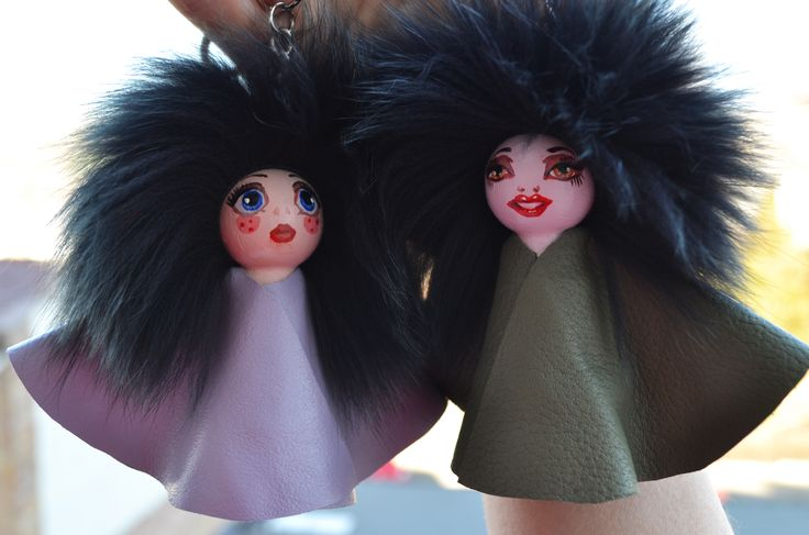 cuteness overload for your bag, Mara&Lana #dolls  #everbrildolls #bagcharm #handmade #unique #handpainted #recycledmaterials #bagbug #furdolls