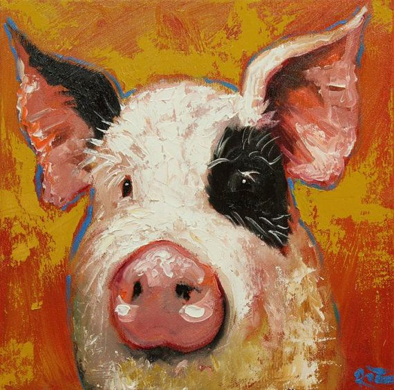 Pig painting 89 12x12 inch original oil painting by Roz ...