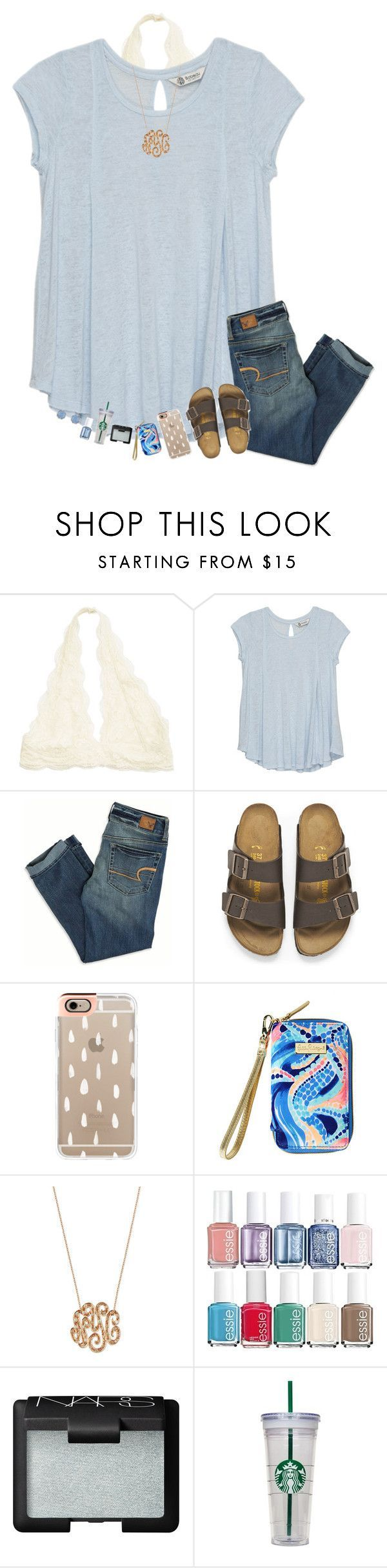 Polyvore featuring Bobeau, American Eagle Outfitters, Birkenstock, Casetify, Lilly Pulitzer, Ginette NY, Essie, NARS Cosmetics and Accessorize