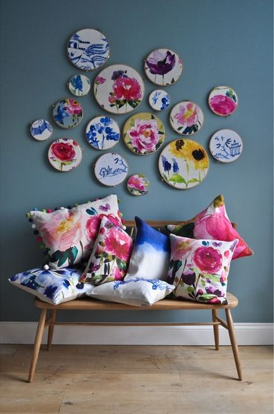 Watercolour floral cushion assortment