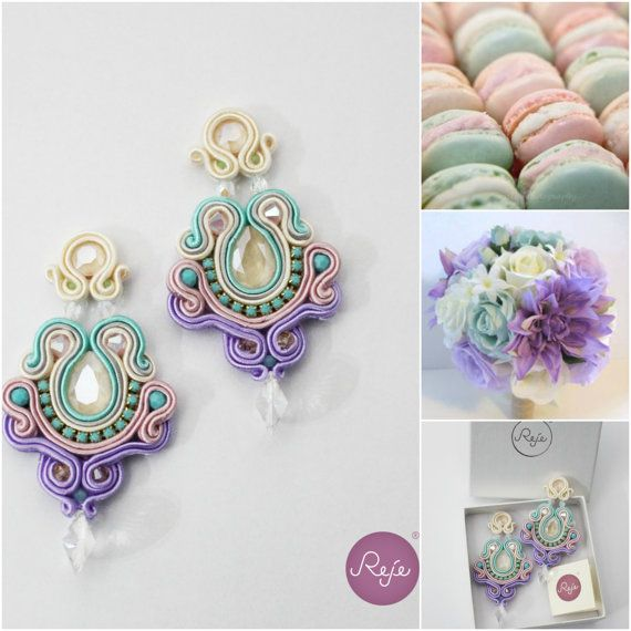 Soutache earrings statement earrings OOAK earrings by Rejesoutache