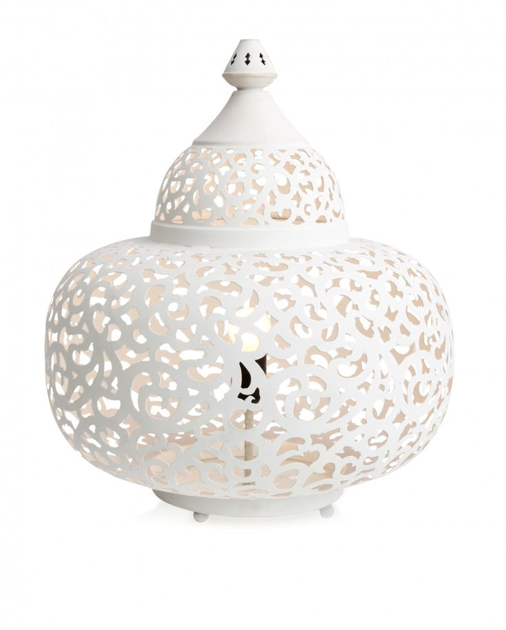 Iron Matki Jali Table Lamp White - Table Lamps | Interiors Online - Furniture Online & Decorating Accessories