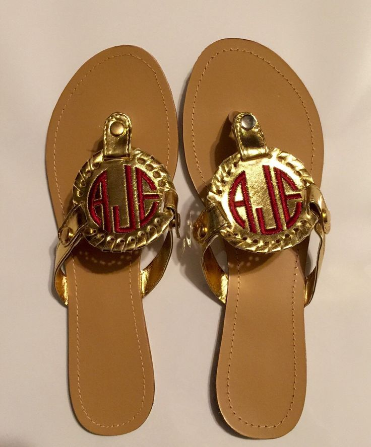 Monogrammed Embroidered Sandals, monogrammed disk Sandals, like marly  Lilly, preppy monogram, personalized shoes