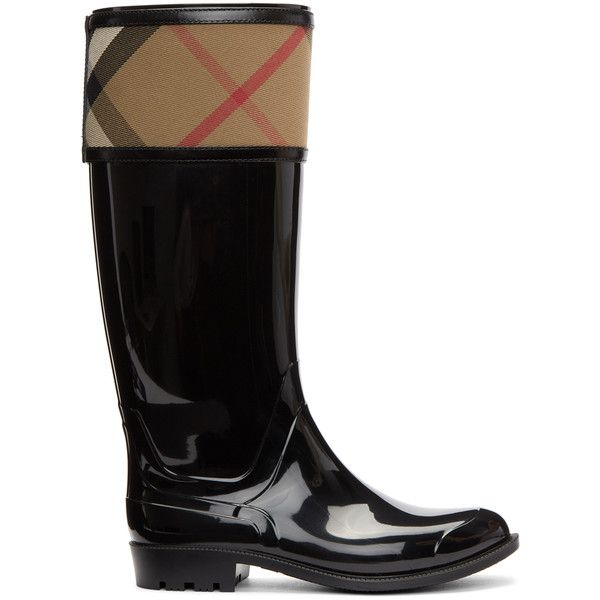 Burberry Black Croshill Rain Boots ($360) ❤ liked on Polyvore featuring shoes, boots, black, wellington rubber boots, wellies rubber boots, black boots, tall rubber boots and rubber boots