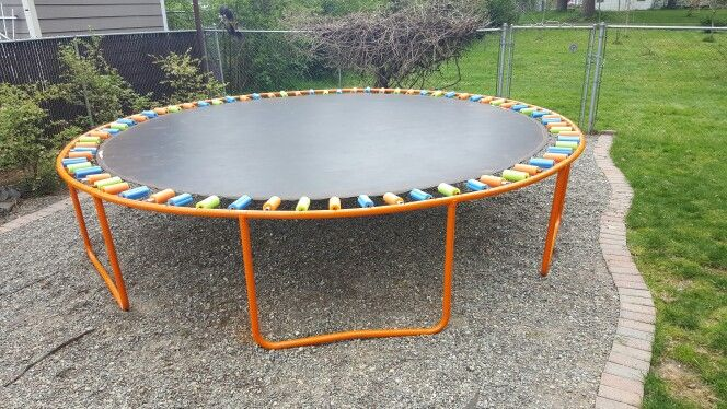 My Very FIRST pin that I did!! 5 cans of spray paint an about 9 pool noodles - Trampoline Makeover