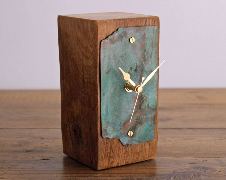 Small Mantel Clock Salvaged Oak and Copper Patina Desk Clock (17/104) by ReclaimedTime on Etsy https://www.etsy.com/listing/542810624/small-mantel-clock-salvaged-oak-and