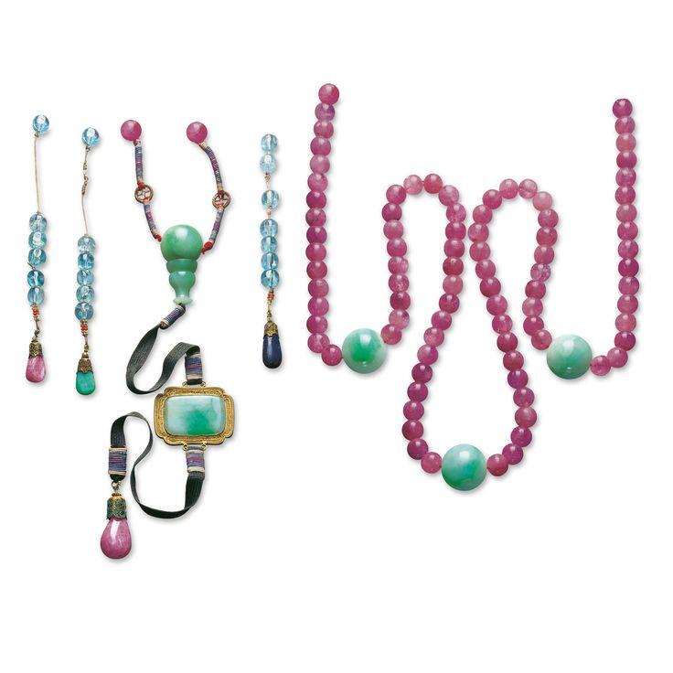 Impressive jadeite and tourmaline court necklace, Qing dynasty