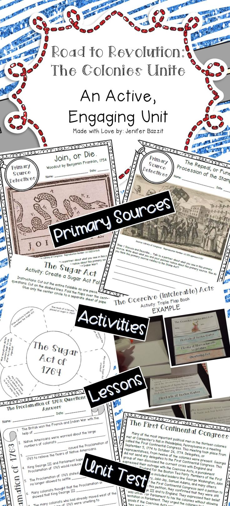 Are you looking for an engaging unit to use while teaching your students about the events leading to the American Revolution? You've found it! This unit contains a Road to Revolution wall display, lesson sheets, lesson activities, primary source analysis sheets, a relay review activity, and a unit test.