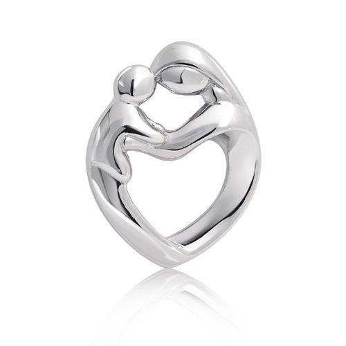 Bling Jewelry 925 Sterling Silver Mother and Child Family Heart Pendant