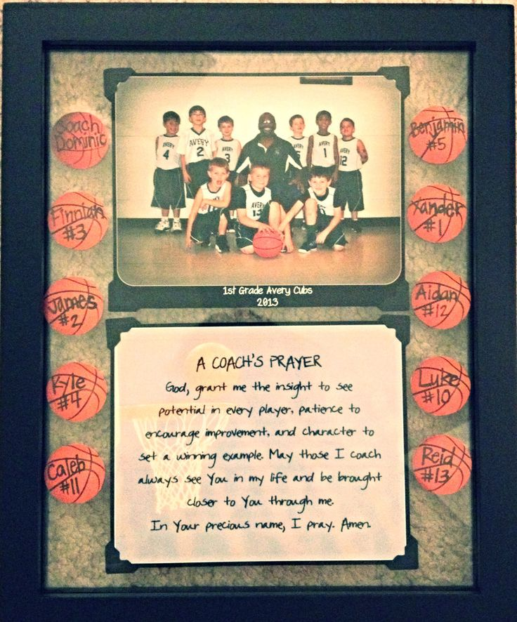 DIY Coach's Gift : put picture & coach's prayer in see through frame. put basketball cut-outs around pictures w/ players names & #'s on the balls.