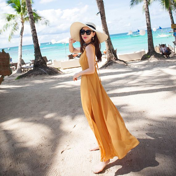 2017 새로운 여성 여름 해변 드레스 해변 리조트 슬림 얇은 쉬폰 드레스 보헤미안 드레스 기질
