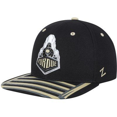 premium selection a920e ecc16 Men s Zephyr Black Purdue Boilermakers Train Tracks Snapback Adjustable Hat