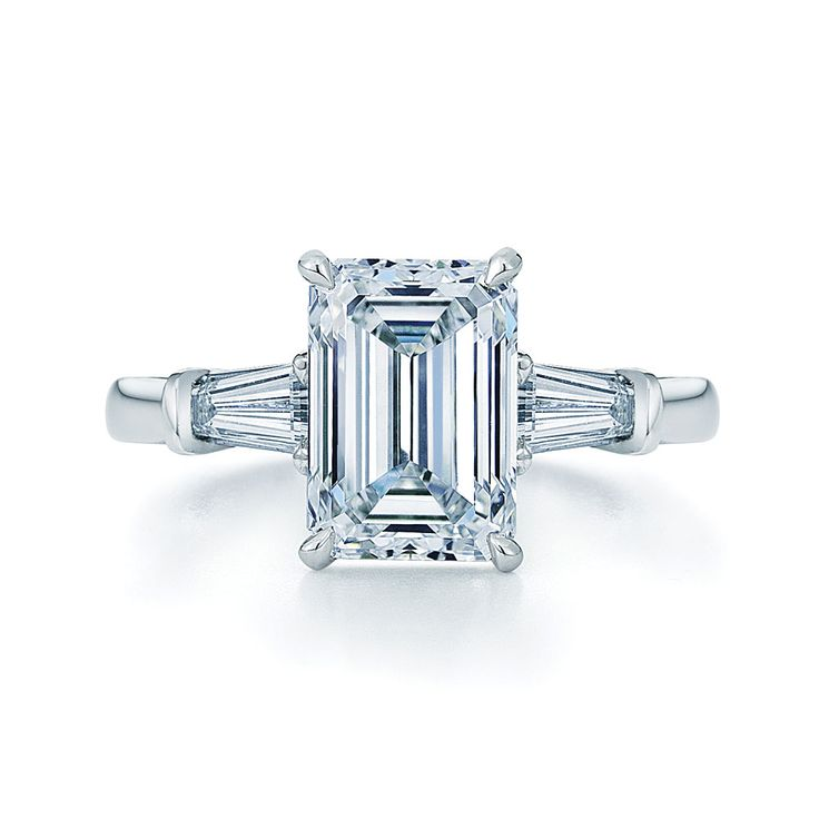 We just created this stunning emerald diamond & baguette diamond ring set in platinum. congratulations on your engagement!