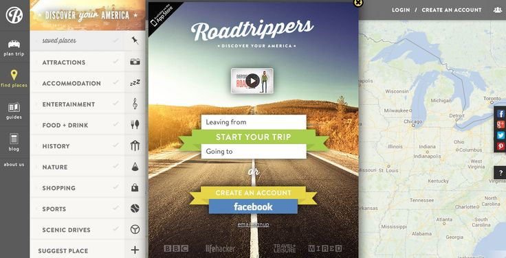 Roadtripper is a jaw-drop perfect way to a US road trip. You give it a start and end point, indicate your interests, and it draws up the perfect route in seconds. Bam. Get on the road.