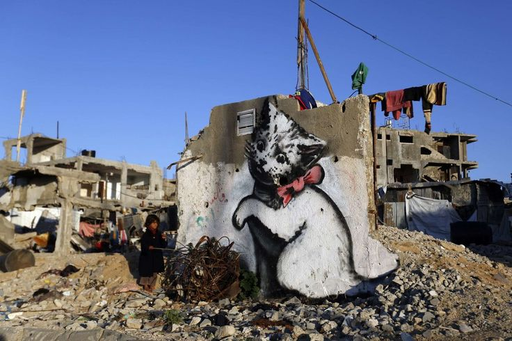 The elusive artist visited Gaza in February and crafted art works on rubble to highlight the destruction from the 50-day war between Israel and Hamas.