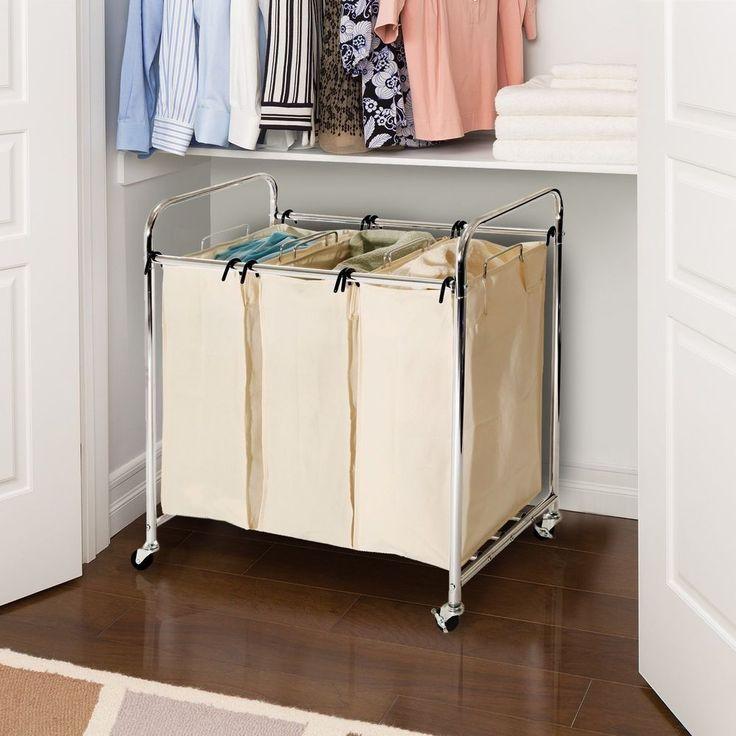details about laundry basket on wheels 3 bin organizer bag clothes sorter rolling cart hamper