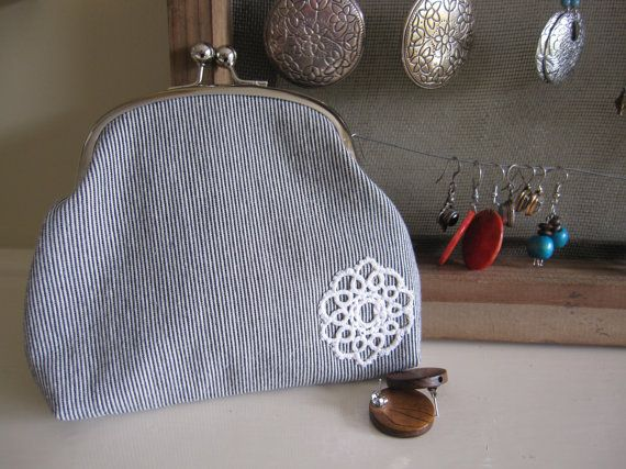 Small Purse large coin purse metal frame by DesignsMadeByJane, $30.00