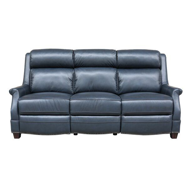 Cheadle Genuine Leather Reclining 83 1 Round Arm Sofa Reclining