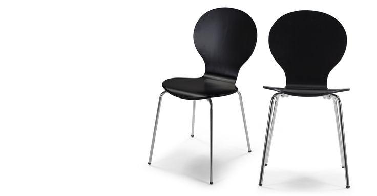2 x Kitsch Dining Chairs, Black