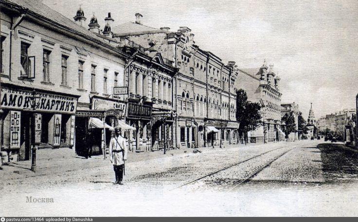 Фотография - Арбат близ Спасопесковского переулка - снимок сделан между 1902-1903 годами (направление съемки — северо-восток)