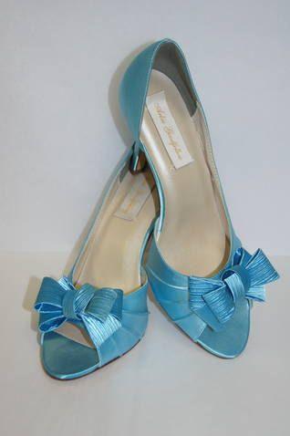 Blue Wedding Shoes Big Bows Peep Toe Shoes Blue by Parisxox