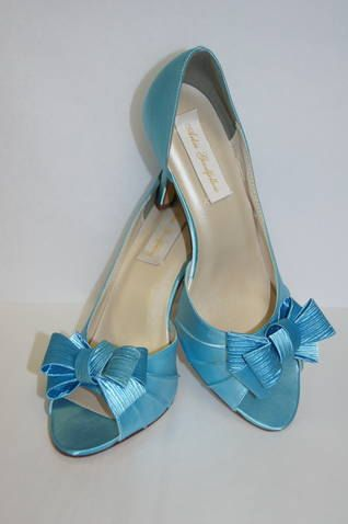 Blue Wedding Shoes Big Bows Peep Toe Shoes Blue by Parisxox