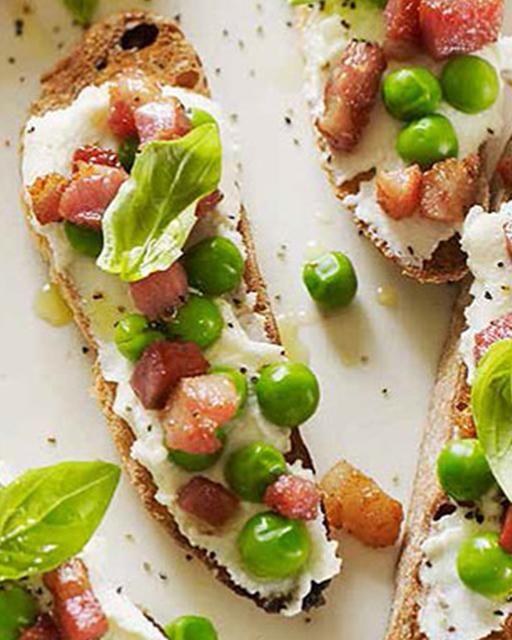 Spring Bruschetta with Peas & Pancetta