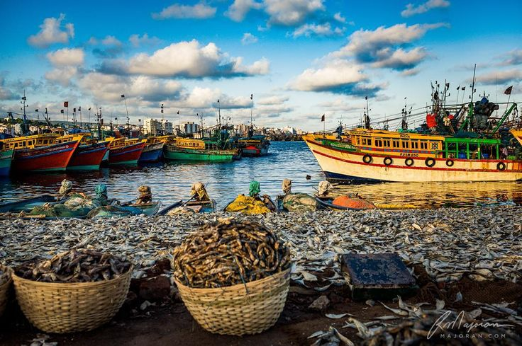 Brilliant colors of the fishing boats at a harbor in India.