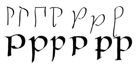 Строчные латинские формировались ещё 1500лет, закрепившись валфавите только вэпоху Возрождения. Иснова врисунке букв присутствуют засечки...