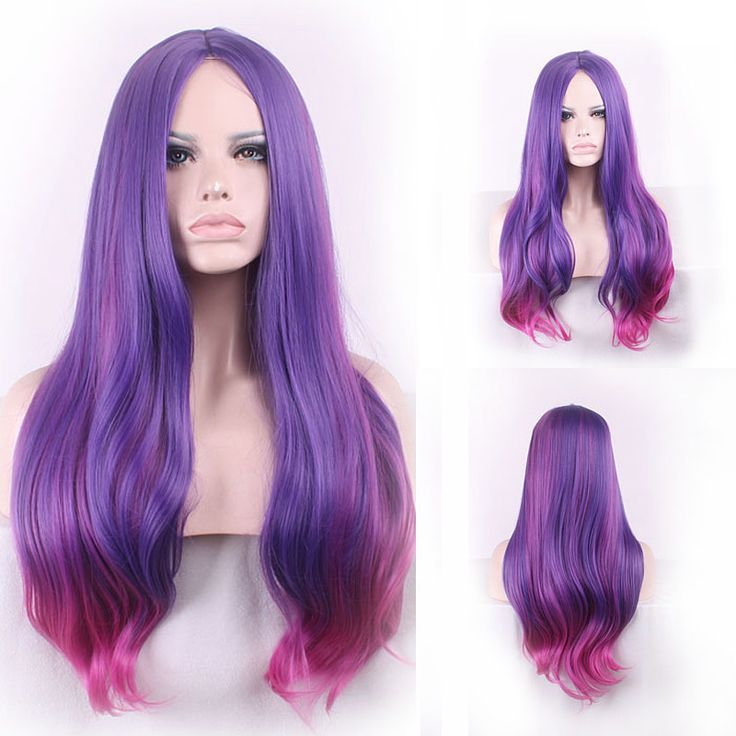 72cm Fashion Sexy Long Slightly Curly Cosplay Central Parting Women Wigs Hair Wig Girl Gift Purple Red Ombre   HB88