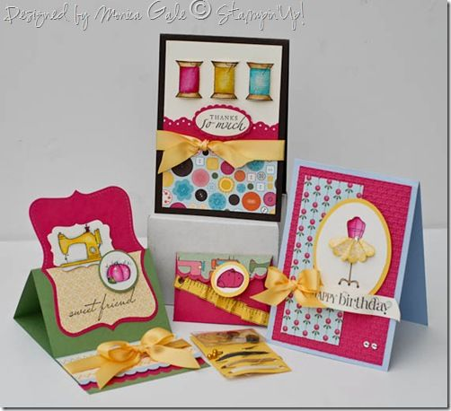 Sewing themed cards with top note easel card.