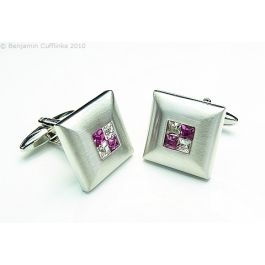 Purple Crystal Four Square Cufflinks - These cufflinks are made from a brushed frame with four crystals in the centre. The quality is exceptional.