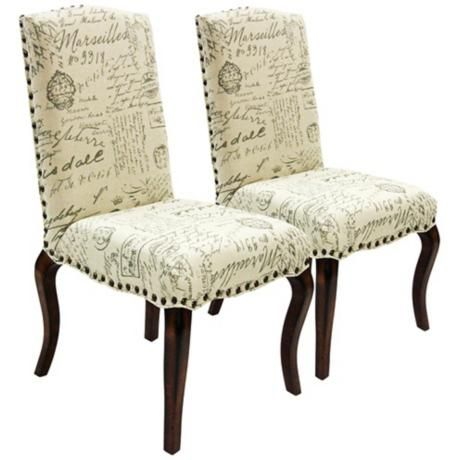 Set Of 2 Madeleine Vintage French Script Accent Chairs