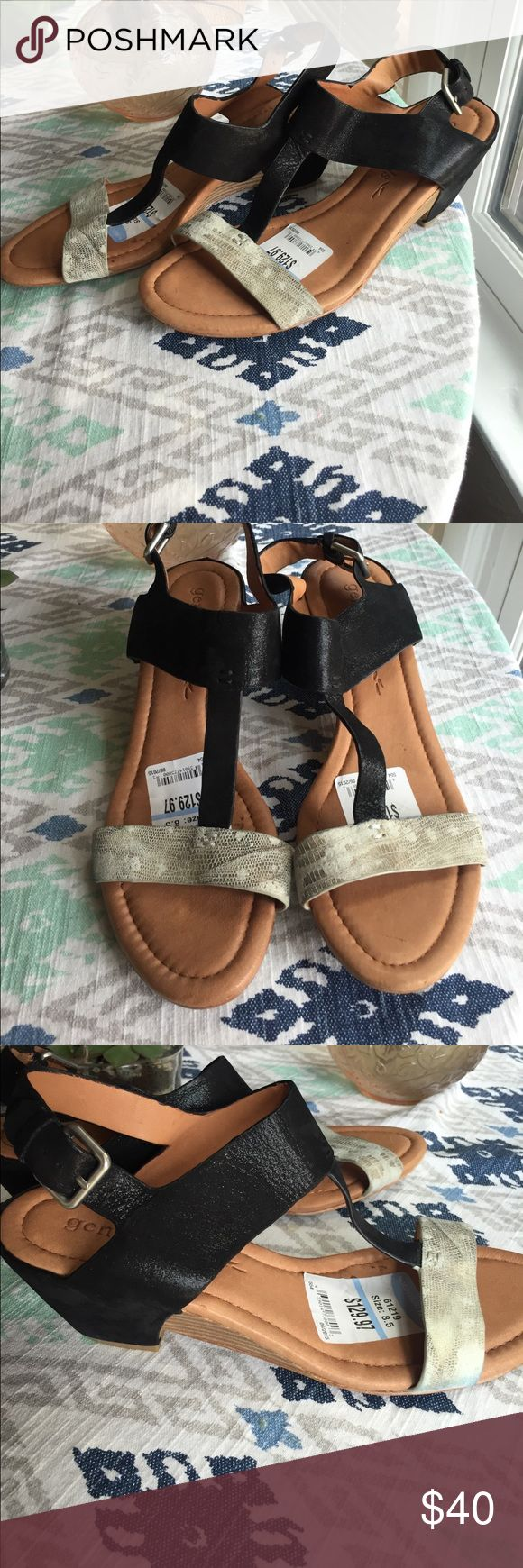 SALE! Gentle Souls wedges Gentle Souls wedges. Size 8.5. Leather. Top has a slight metallic sheen and the bottom strap has a suede and animal skin look. The side has a bit of blue dye that has rubbed on one side. Price reflects and shown in pic three. Otherwise in great condition. Nordstrom Shoes Wedges