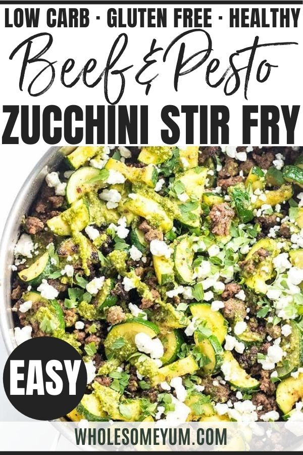 Ground Beef Zucchini Stir Fry Recipe With Pesto In 2020 Stir Fry Recipes Zucchini Ground Beef Recipe Pesto Recipe