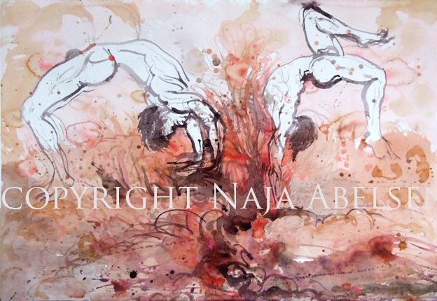 Spændstighed. (Danish for Springiness). Watercolour by Naja Abelsen. For sale. THE DANCE! - www.123hjemmeside.dk/NajaAbelsen. Available as A3-photoprint 400 DKK / 54 Euro.