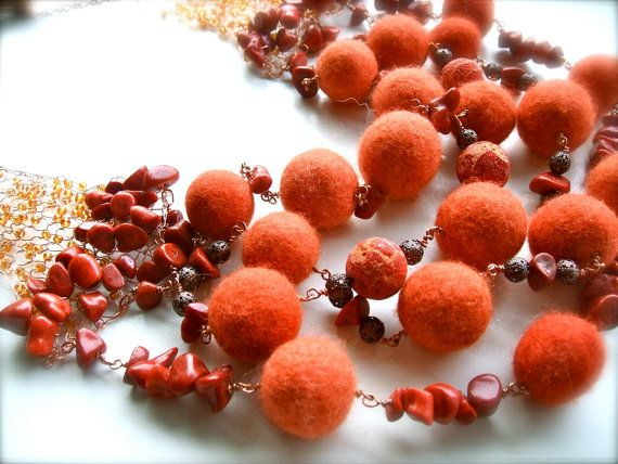 SALE 10% off Felt necklace Wool coral copper Handmade by jurooma