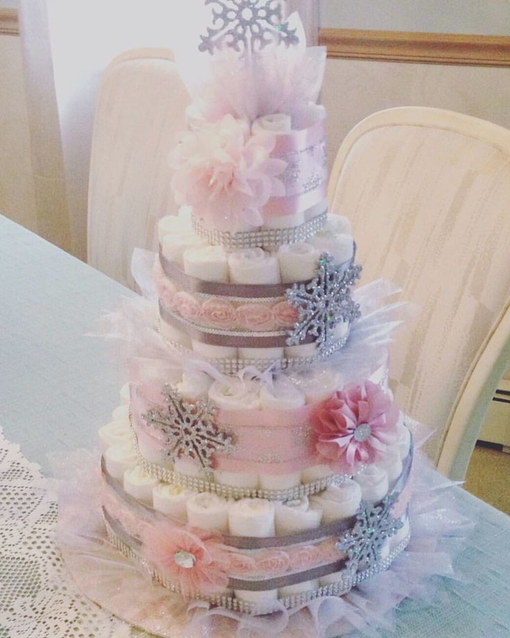 Pastel Pink And Silver Diaper Cake! Baby Itu0027s Cold Outside