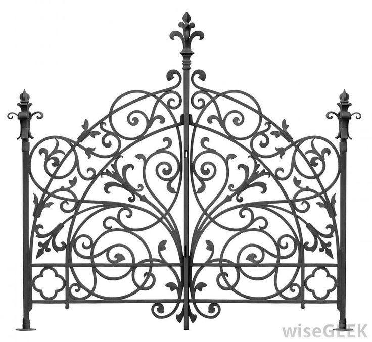 Part of a wrought iron fence.