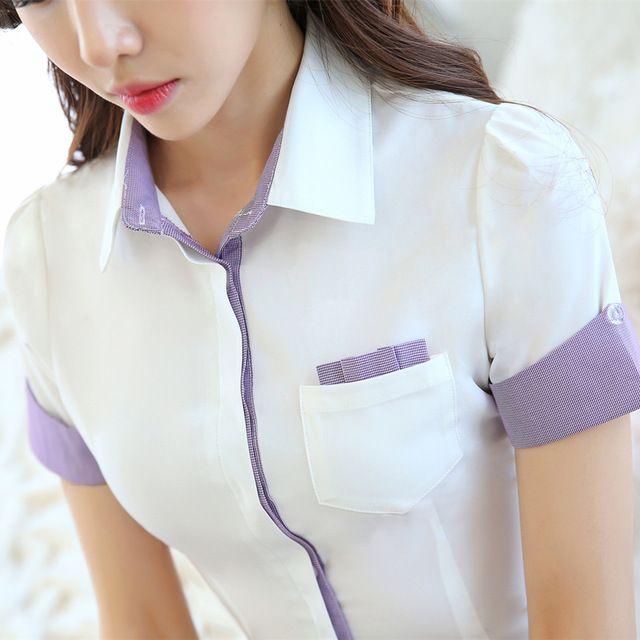 Verano Estilo Coreano de La Gasa Camisa Femenina Blusa de Las Mujeres Blancas con bolsillos de Manga Corta Gira el Collar Abajo Gasa Blusas Ocasionales 3XL