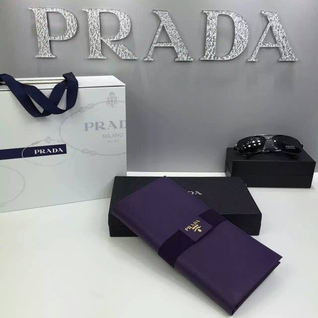 Prada 1M1302 Saffiano Leather Long Wallet Purple | Prada Outlet ...