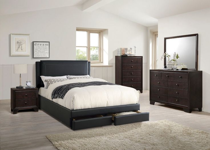 Bedroom Furniture Cal King Size Bed Unique Modern Wooden 4p Set Black Side  Panel