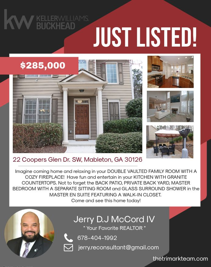 Just Listed 22 Coopers Glen Drive Sw Mableton Georgia 30126 If You Are Interested In Getting Started With The Rea Atlanta Real Estate Mableton Real Estate