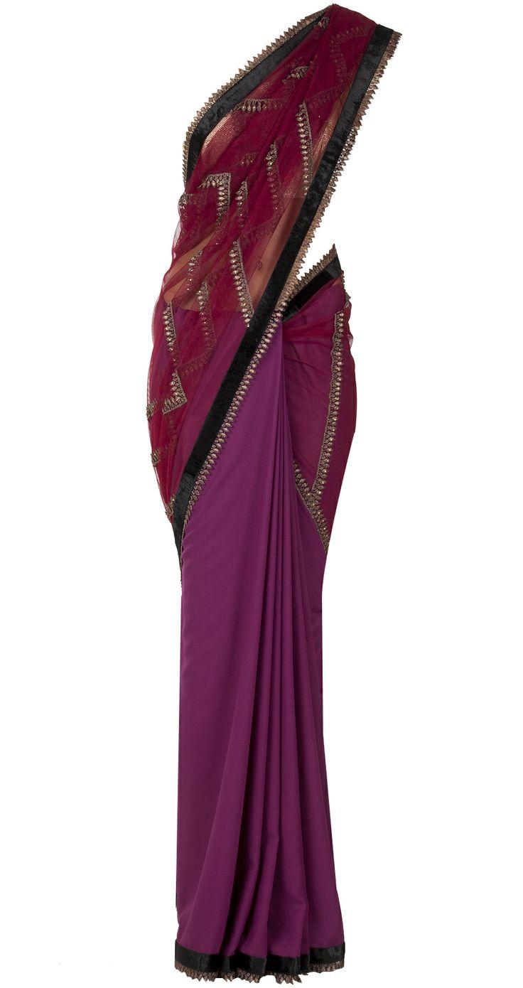 Aubergine geometric pattern lace embellished sari by J J VALAYA. http://www.perniaspopupshop.com/whats-new/j-j-valaya-aubergine-geometric-pattern-lace-embellished-sari-jjvc1013a2897.html