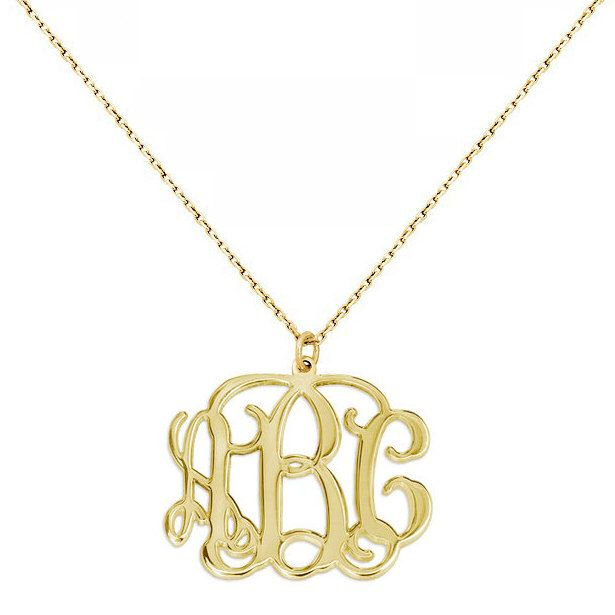 3 Initials Monogram necklace - 1 inch any initial Gold monogram necklace in 18k yellow gold plated 925 sterling silver by justmadewithheart on Etsy https://www.etsy.com/listing/242530590/3-initials-monogram-necklace-1-inch-any